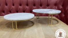 """Marble & Gold Cake Stands (13.75"""" and 12.25"""" diameters)"""